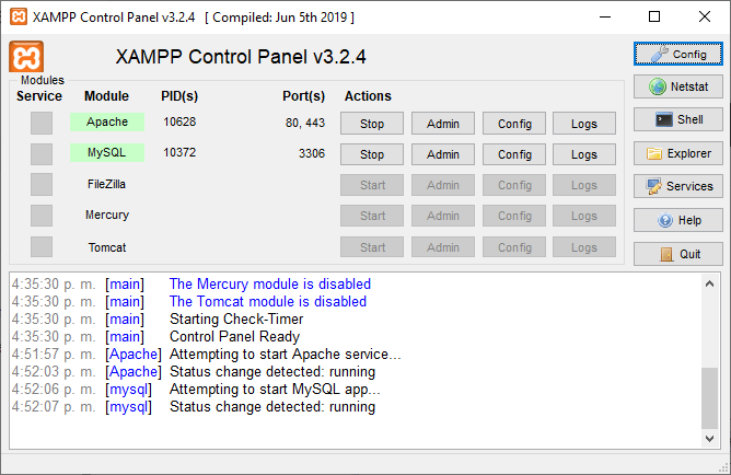 base de datos xampp