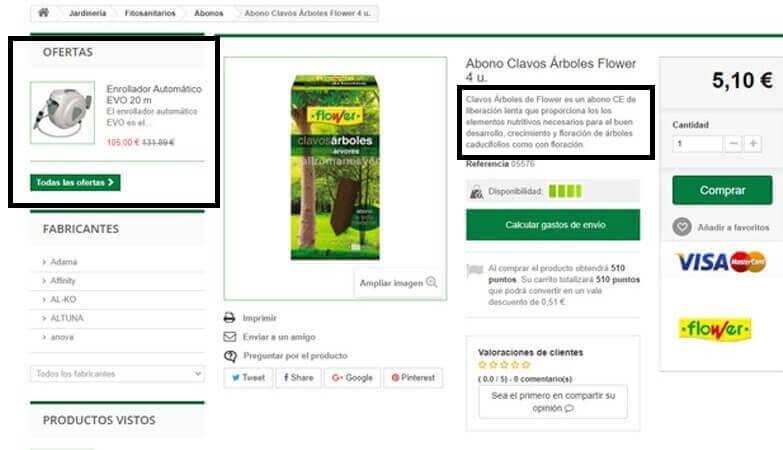 ficha de producto tienda online
