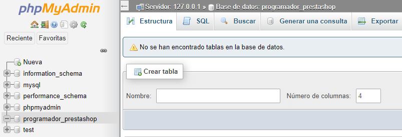 phpmyadmin creacion base de datos