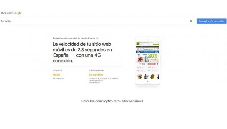 Thin site Google tiempo de carga web