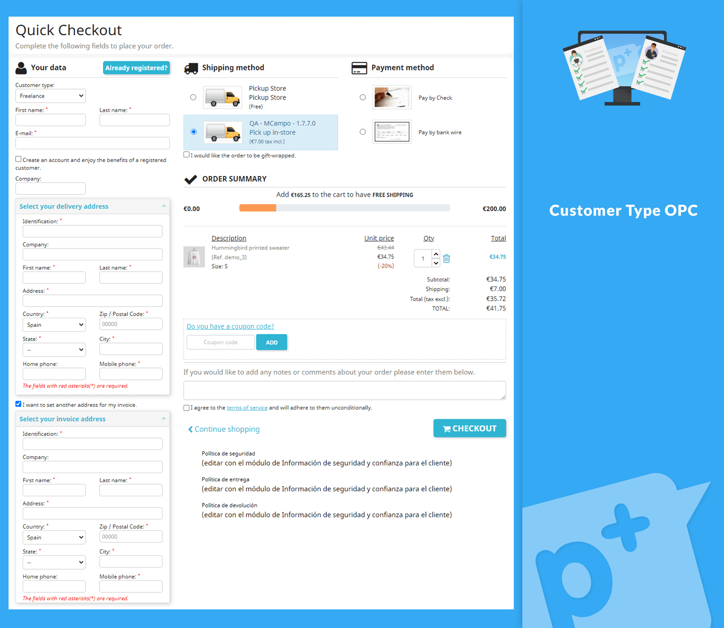 Customer Type OPC - Show or hide the fields for customer types: company / freelance